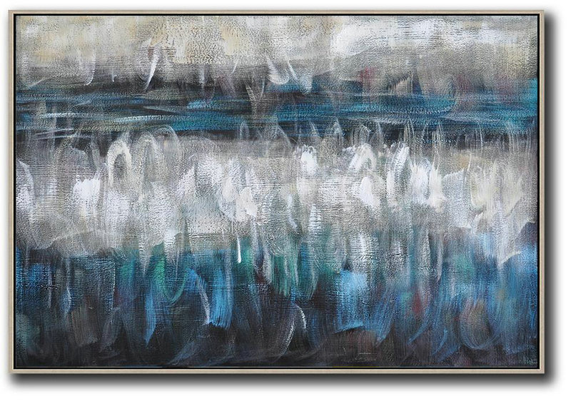 Oversized Horizontal Contemporary Art,Huge Abstract Canvas Art Blue,Grey,Black,White