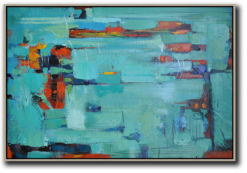 Oversized Horizontal Contemporary Art,Modern Art Oil Painting Lake Blue,Dark Blue ,Red