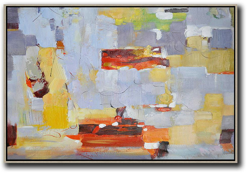 Oversized Horizontal Contemporary Art,Artwork For Sale Grey,Red,Yellow