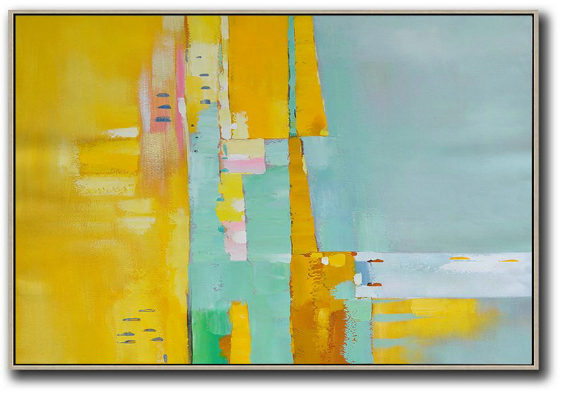 Oversized Horizontal Contemporary Art,Large Canvas Art,Modern Art Abstract Painting Yellow,White,Light Green,Pink