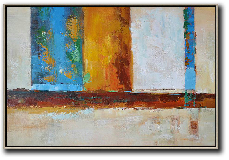 Oversized Horizontal Contemporary Art,Modern Art Blue,Earthy Yellow ,White
