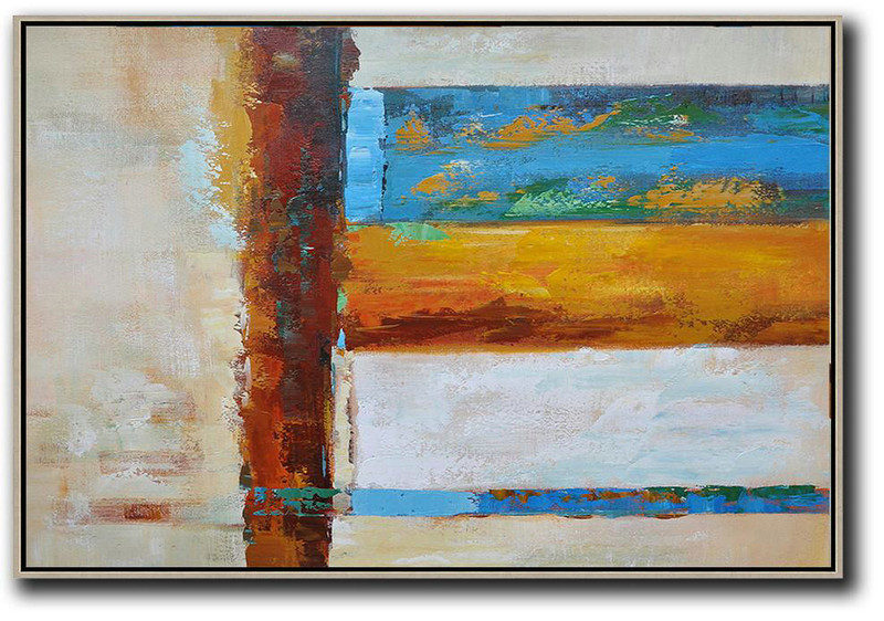 Oversized Horizontal Contemporary Art,Big Art Canvas Blue,Yellow,White,Brown,Light Yellow