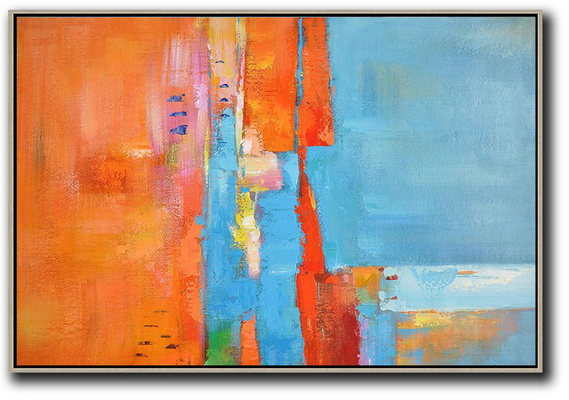 Oversized Horizontal Contemporary Art,Canvas Artwork For Sale Orange,Sky Blue,Yellow