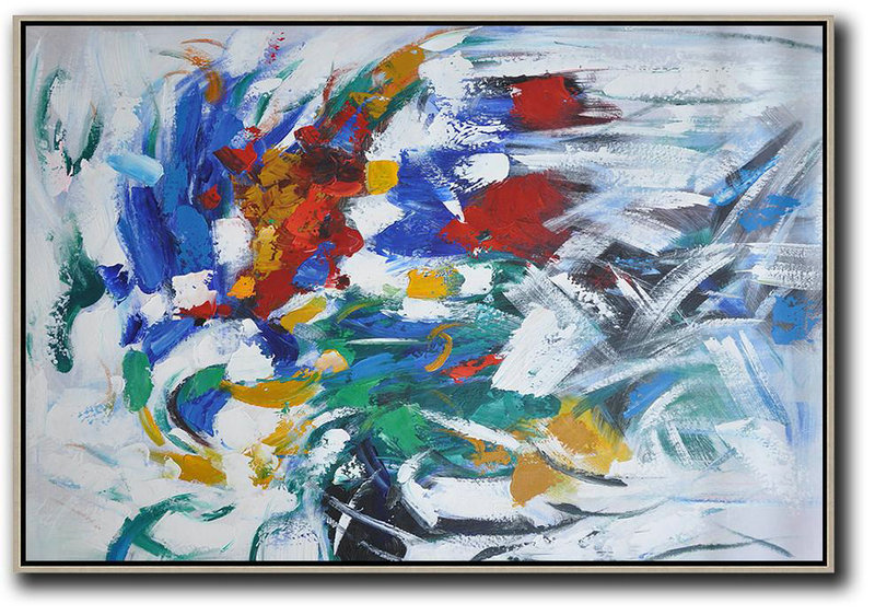 Oversized Horizontal Contemporary Art,Contemporary Art Acrylic Painting Red,Yellow,White,Green,Blue