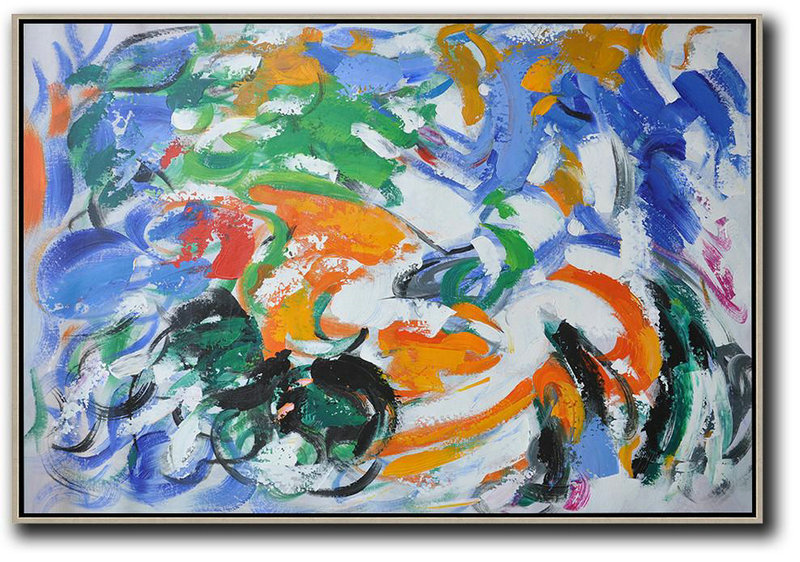Oversized Horizontal Contemporary Art,Multicolor Abstract Painting Blue,White,Green,Orange