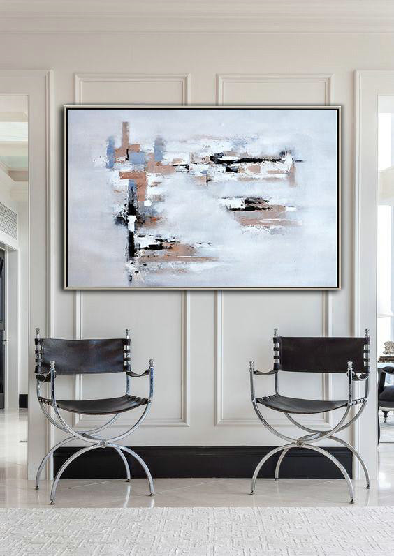 Oversized Horizontal Contemporary Art,Canvas Paintings For Sale White,Grey,Beige