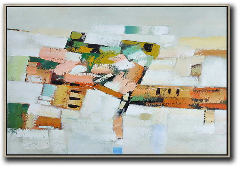 Oversized Horizontal Contemporary Art,Size Extra Large Abstract Art Grey,White,Pink,Orange,Yellow