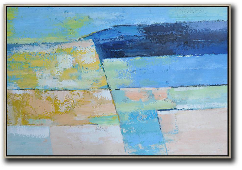 Oversized Horizontal Contemporary Art,Large Living Room Wall Decor Blue,Dark Blue,Yellow,Nude