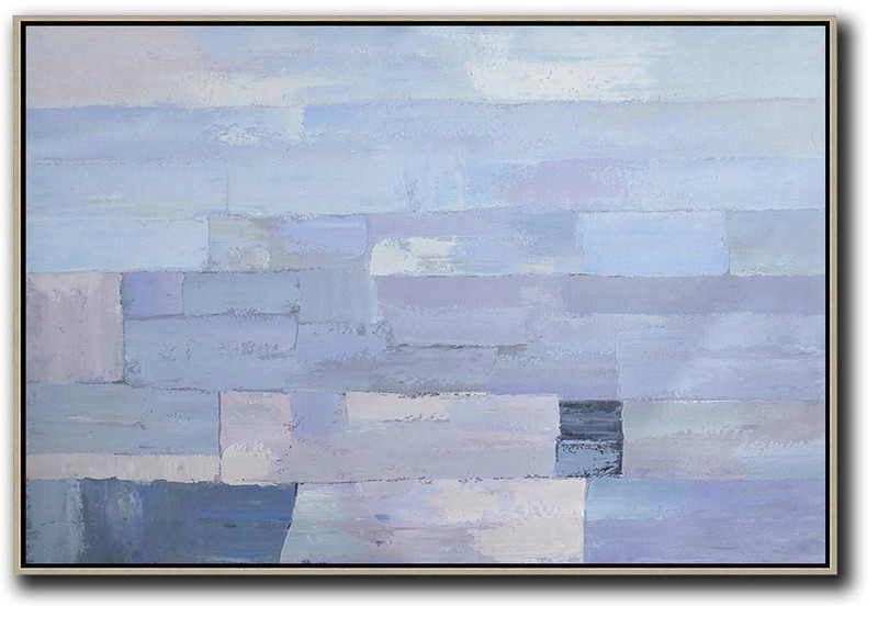 Oversized Horizontal Contemporary Art,Large Wall Canvas Paintings Sky Blue,Purple,White