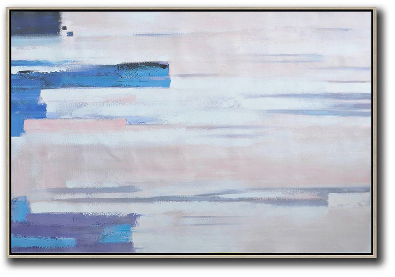 Oversized Horizontal Contemporary Art,Big Living Room Decor White,Pink,Blue,Purple