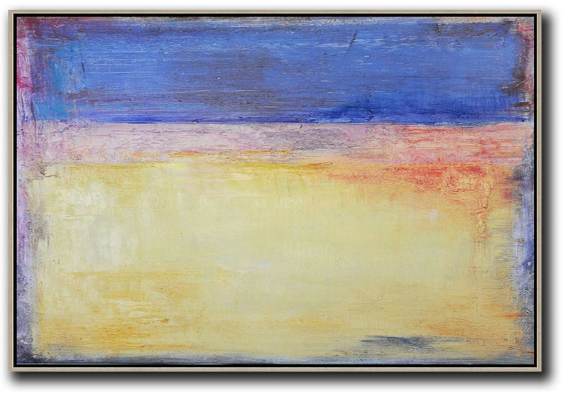 Oversized Horizontal Contemporary Art,Abstract Art On Canvas, Modern Art Blue,Purple,Yellow,Red