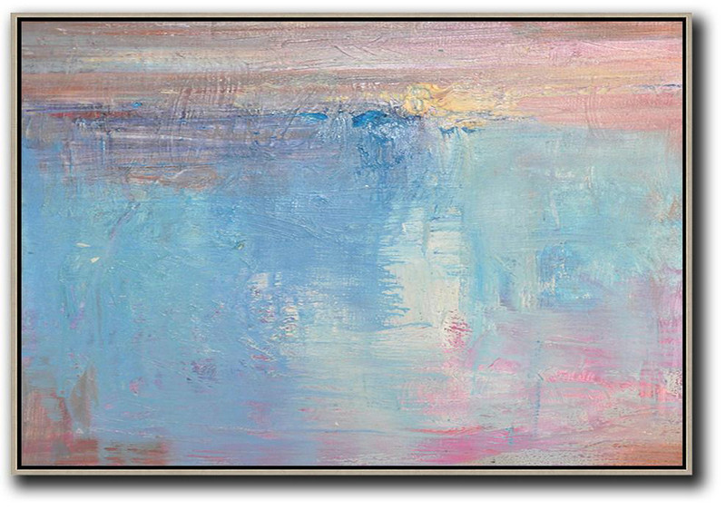 Oversized Horizontal Contemporary Art,Oversized Wall Decor Sky Blue,Pink,White