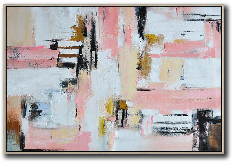 Oversized Horizontal Contemporary Art,Large Canvas Wall Art For Sale White,Pink,Light Yellow,Black,Brown