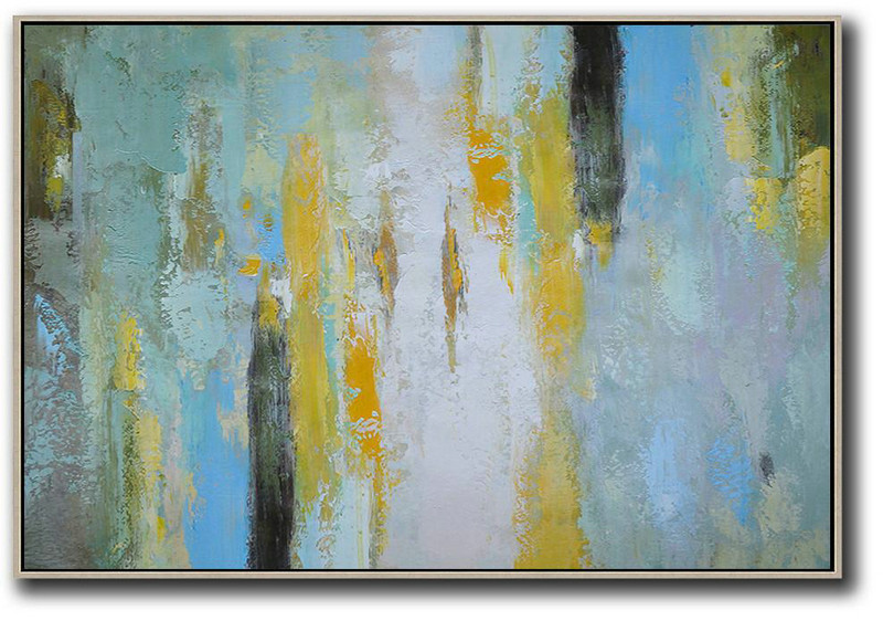 Oversized Horizontal Contemporary Art,Large Contemporary Painting White,Yellow,Purple Grey,Black,Lake Blue