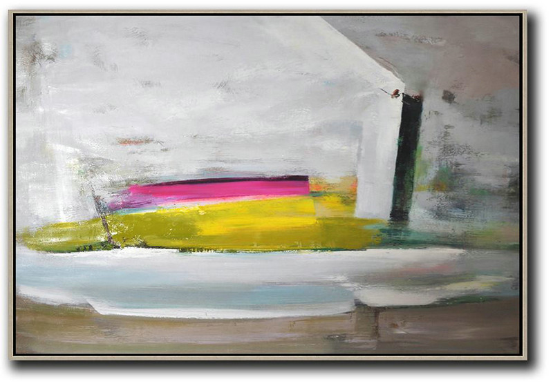 Horizontal Palette Knife Contemporary Art,Canvas Wall Paintings Grey.Yellow,Pink