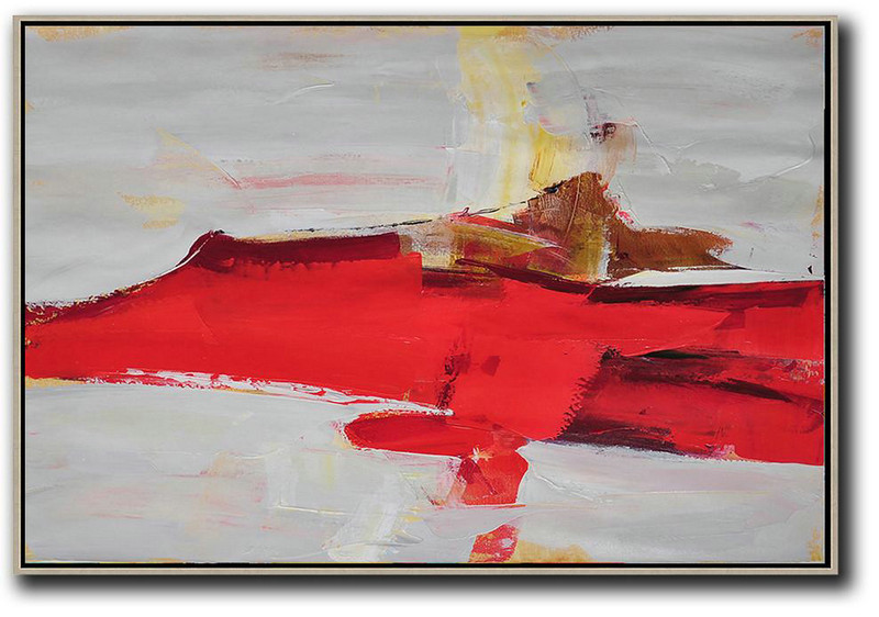 Horizontal Palette Knife Contemporary Art,Acrylic Painting Large Wall Art Red,Grey,Yellow