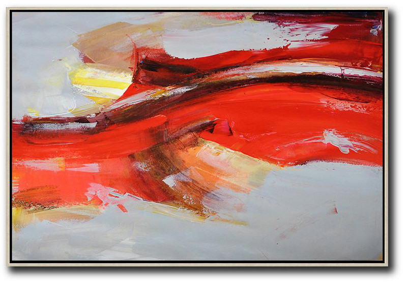 Horizontal Palette Knife Contemporary Art,Abstract Painting On Canvas Red,Grey,Yellow