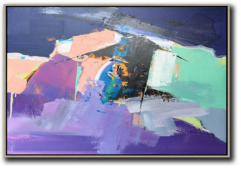 Horizontal Palette Knife Contemporary Art,Modern Wall Decor Pink,Purple,Black