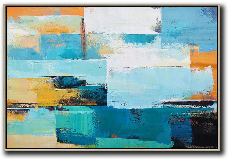 Horizontal Palette Knife Contemporary Art,Large Canvas Art Blue,White,Yellow