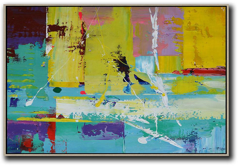 Horizontal Palette Knife Contemporary Art,Giant Canvas Wall Art Yellow,Blue,Purple,Pink