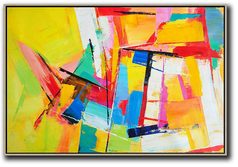 Horizontal Palette Knife Contemporary Art,Abstract Painting On Canvas Yellow,White,Blue,White,Purple