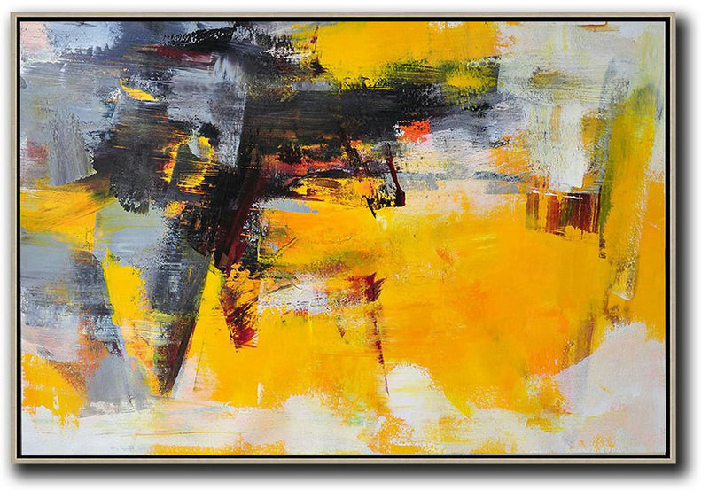 Horizontal Palette Knife Contemporary Art,Contemporary Abstract Painting Black,Grey,Yellow