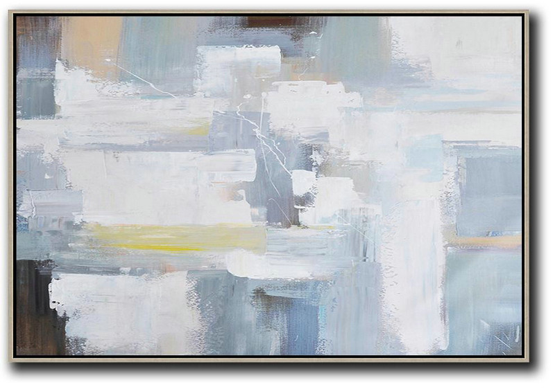 Horizontal Palette Knife Contemporary Art,Personalized Canvas Art Grey,White,Yellow,Brown