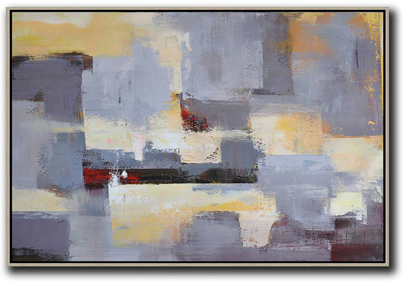 Horizontal Palette Knife Contemporary Art,Hand Paint Large Art Grey,Yellow,White