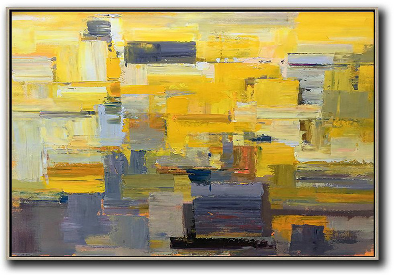 Horizontal Palette Knife Contemporary Art,Colorful Wall Art Yellow,Grey,White
