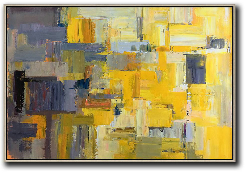 Horizontal Palette Knife Contemporary Art,Wall Art Ideas For Living Room Yellow,Grey,White