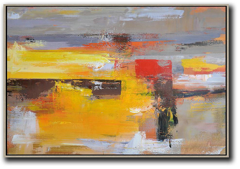 Horizontal Palette Knife Contemporary Art,Bedroom Wall Decor Grey,Yellow,Red