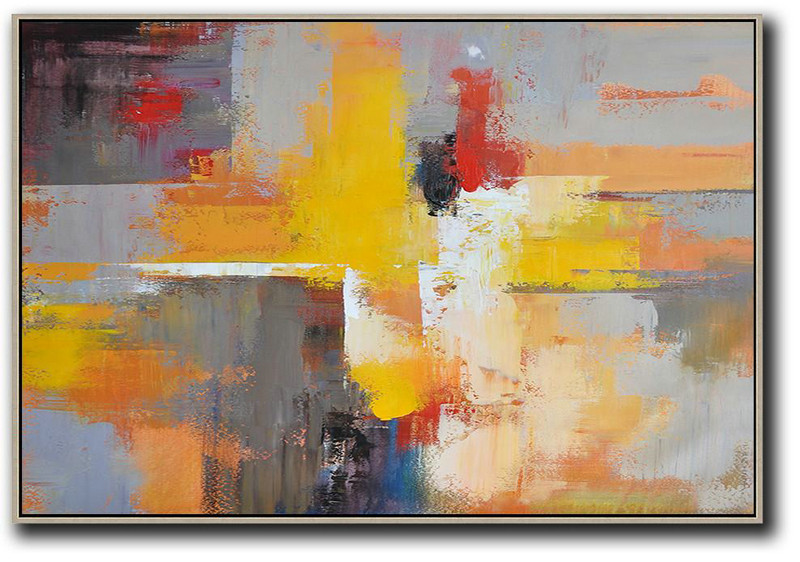 Horizontal Palette Knife Contemporary Art,Huge Canvas Art On Canvas Yellow,Grey,Red,Black