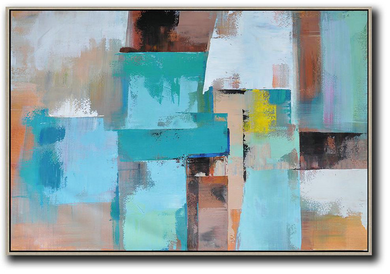 Horizontal Palette Knife Contemporary Art,Large Paintings For Living Room Lake Blue,Pink.Brown,Yellow
