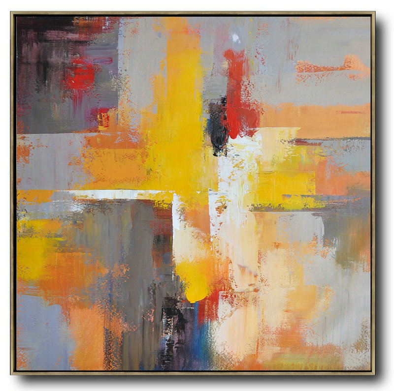 Oversized Palette Knife Painting Contemporary Art On Canvas,Huge Abstract Canvas Art Yellow,Grey,Red,Taupe