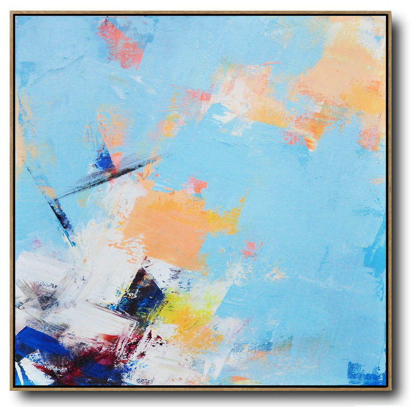Palette Knife Contemporary Art Canvas Painting,Size Extra Large Abstract Art Sky Blue,Yellow,White,Dark Blue