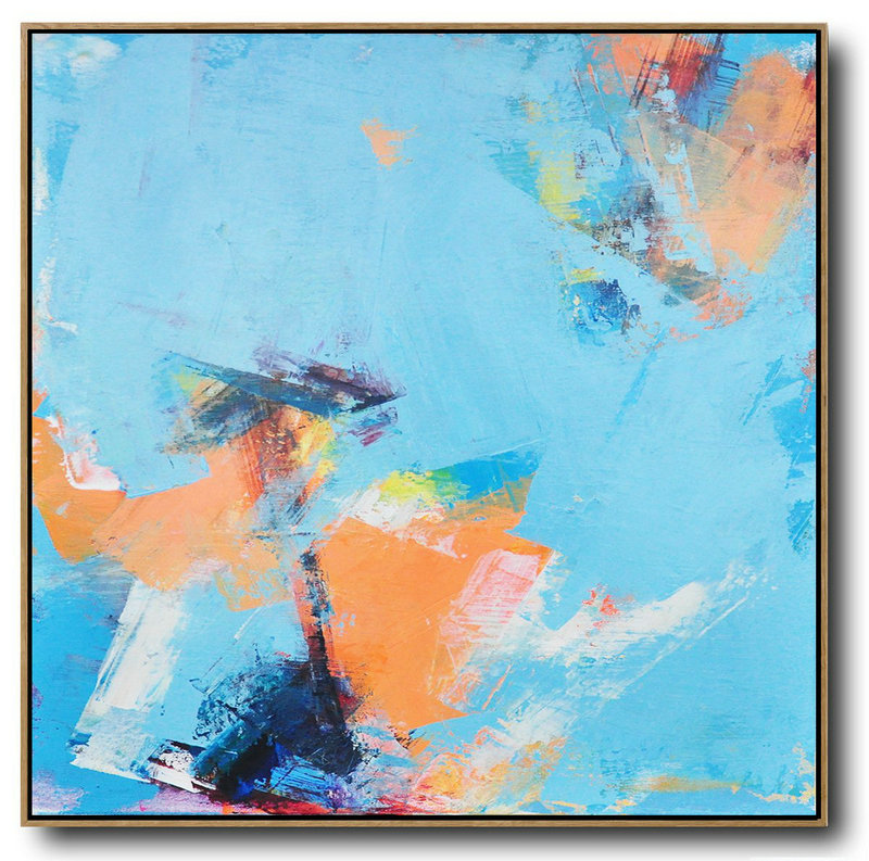 Palette Knife Contemporary Art Canvas Painting,Modern Abstract Wall Art Sky Blue,Orange,Yellow,White
