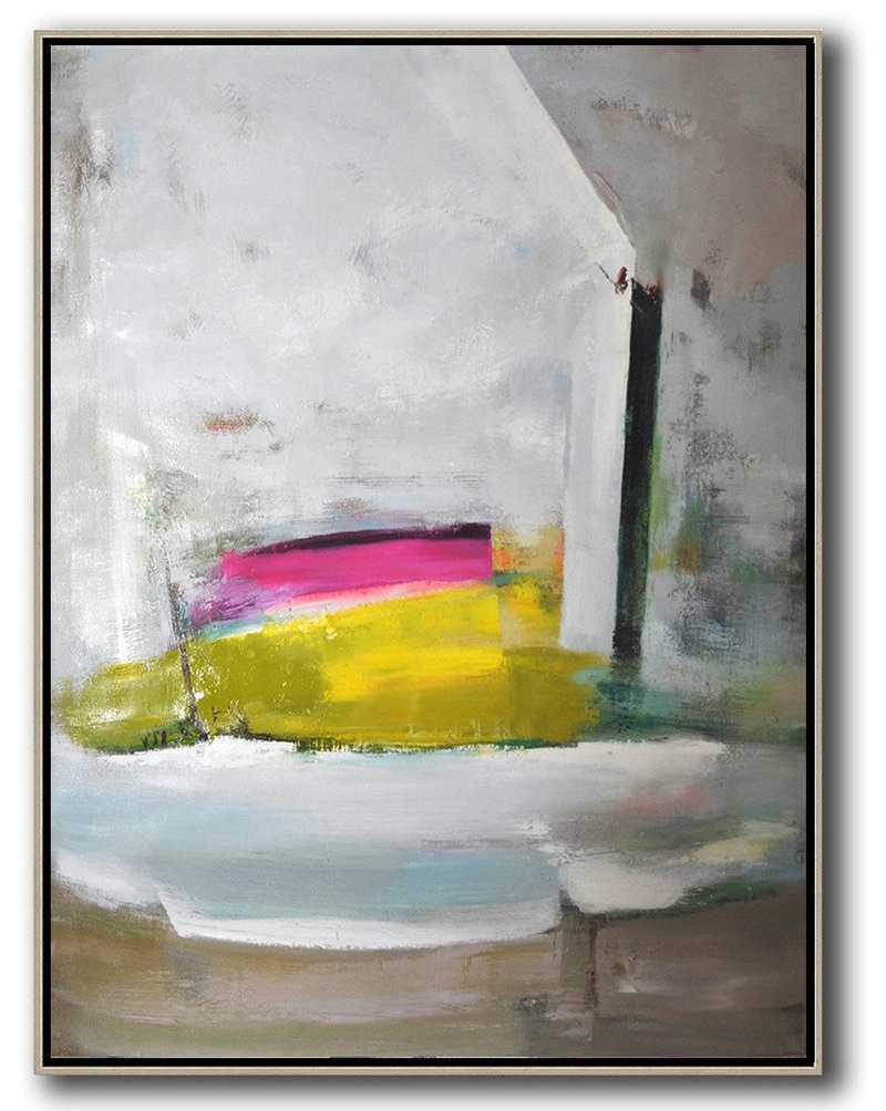 Vertical Palette Knife Contemporary Art,Acrylic Painting Canvas Art Grey,White,Yellow,Pink