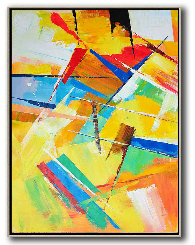 Vertical Palette Knife Contemporary Art,Modern Art Abstract Painting Yellow,Red,Blue,White