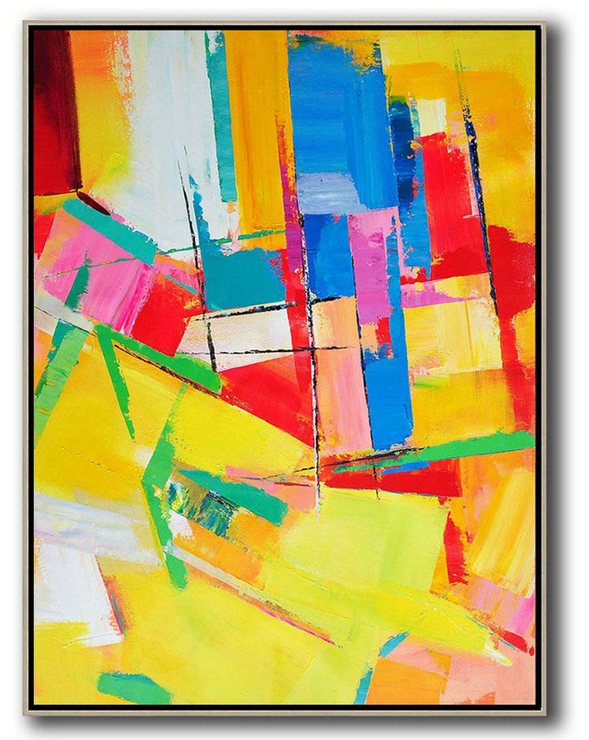Vertical Palette Knife Contemporary Art,Abstract Art Decor Large Canvas Painting Yellow,Red,Blue,Purple