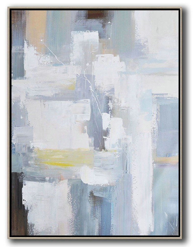 Vertical Palette Knife Contemporary Art,Original Abstract Painting Canvas Art White,Grey,Brown,Yellow