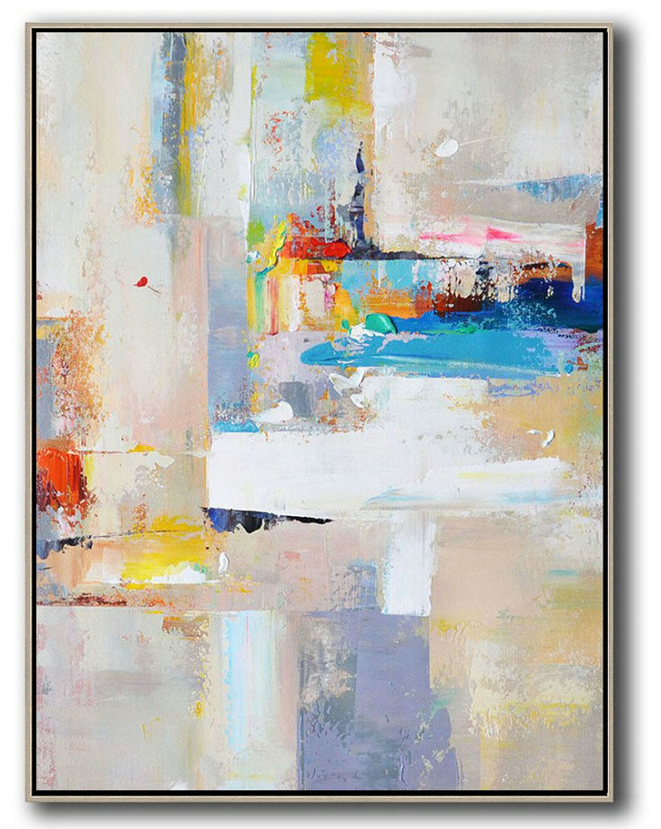 Vertical Palette Knife Contemporary Art,Original Art Beige,White,Blue,Red,Yellow,Pink