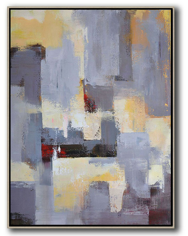 Vertical Palette Knife Contemporary Art,Abstract Art On Canvas, Modern Art Grey,Yellow,Red