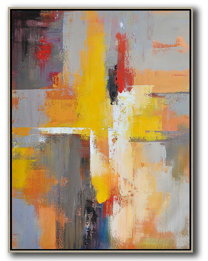 Vertical Palette Knife Contemporary Art,Hand Painted Acrylic Painting Yellow,Red,White,Violet Ash