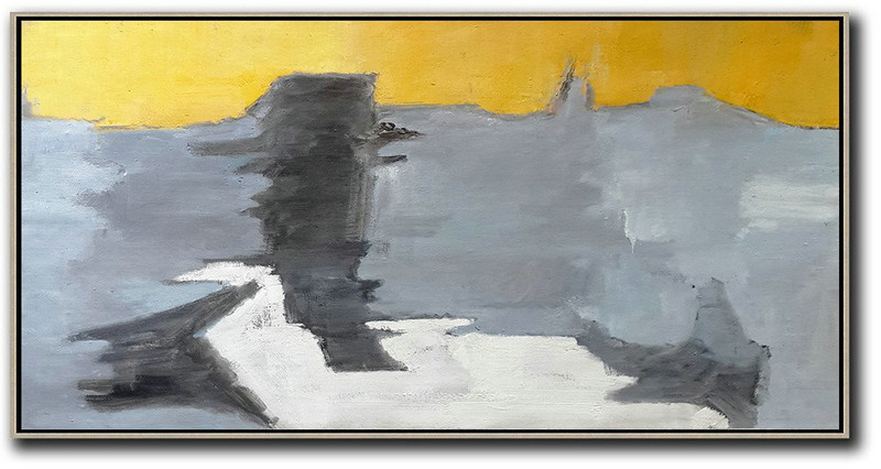 Horizontal Palette Knife Contemporary Art,Huge Abstract Canvas Art Yellow,Black,Grey,White