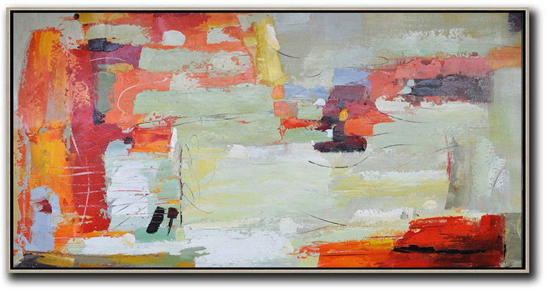 Horizontal Palette Knife Contemporary Art,Living Room Wall Art Red,Light Green,White,Yellow