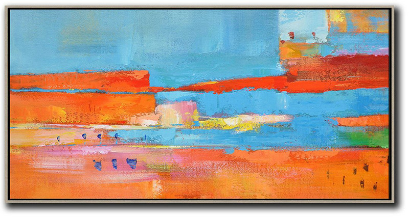 Horizontal Palette Knife Contemporary Art,Living Room Canvas Art Orange,Sky Blue,,Red,Yellow
