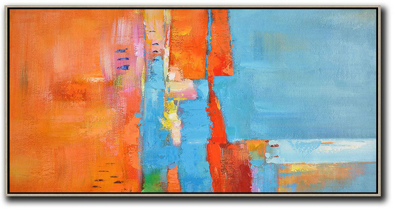 Horizontal Palette Knife Contemporary Art,Canvas Wall Paintings Orange,Sky Blue,White,Red