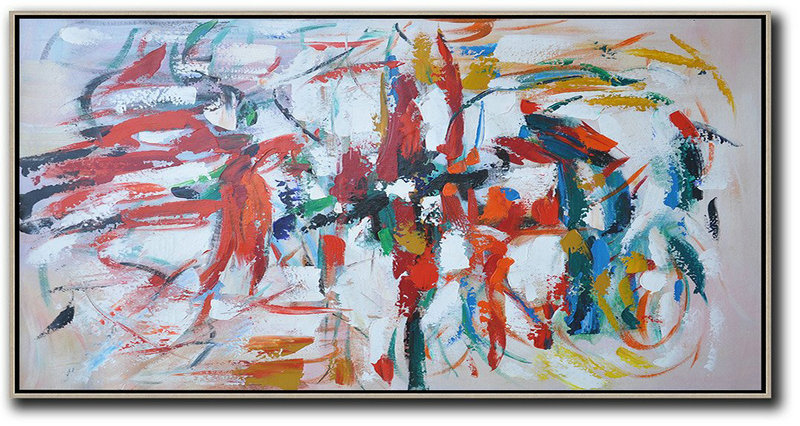 Horizontal Palette Knife Contemporary Art,Modern Wall Decor Red,White,Yellow,Blue,Black