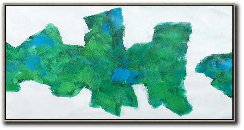 Horizontal Palette Knife Contemporary Art,Huge Abstract Canvas Art White,Green,Blue