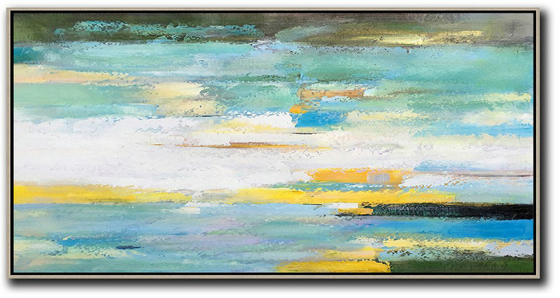 Horizontal Palette Knife Contemporary Art,Hand Paint Large Art White,Yellow,Blue,Light Green,Black